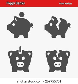 Piggy Banks Icons. Professional, pixel perfect icons optimized for both large and small resolutions. EPS 8 format.