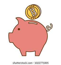 piggy with bitcoin virtual money icon