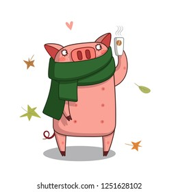 piggy with a Cup of coffee