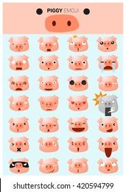 Piggy emoji icons, vector, illustration