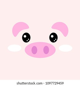 piggy flat vector face,  cute pink pig animal illustration cartoon icon design