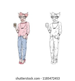 piggy girl hipster with coffee, anthropomorphic animal illustration