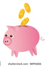 piggy and gold coins isolated over white background. vector