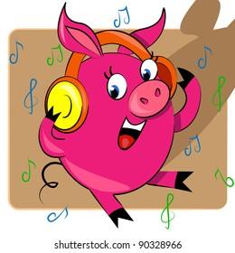 piggy listening music vector illustration. cartoon animal