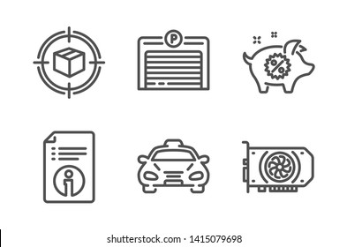 Piggy sale, Parking garage and Technical info icons simple set. Parcel tracking, Taxi and Gpu signs. Discounts, Automatic door. Business set. Line piggy sale icon. Editable stroke. Vector