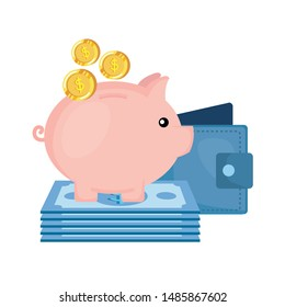 piggy savings with wallet and money