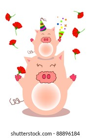 a piggy stand on mother head and throw all the carnation flowers from top.