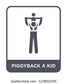 piggyback a kid icon vector on white background, piggyback a kid trendy filled icons from Behavior collection, piggyback a kid vector illustration