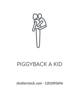 Piggyback a Kid linear icon. Piggyback a Kid concept stroke symbol design. Thin graphic elements vector illustration, outline pattern on a white background, eps 10.