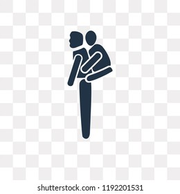 Piggyback a Kid vector icon isolated on transparent background, Piggyback a Kid transparency concept can be used web and mobile
