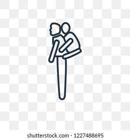 Piggyback a Kid vector outline icon isolated on transparent background, high quality linear Piggyback a Kid transparency concept can be used web and mobile