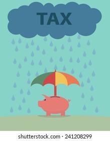 Piggybank under the umbrella.Savings protection concept before taxes.