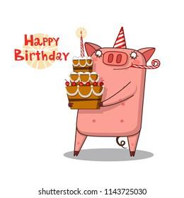 Piglet and Birthday - cartoon illustration