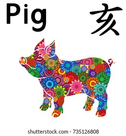 Piglet as a Chinese Zodiac Sign Pig, Fixed Element Water, symbol of New Year on the Eastern