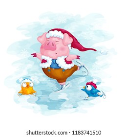A piglet in a Christmas hat and two birds skate. Winter postcard. Vector illustration of a cardboard on a blue watercolor background.