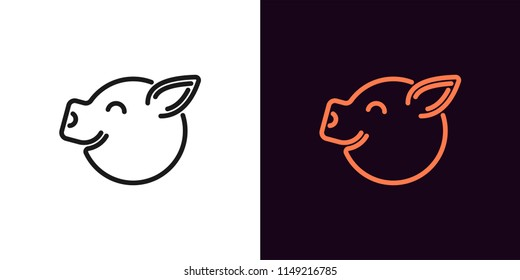 Piglet face with smile in outline style. Vector illustration icon of Cartoon pig head with smile in black and orange color. Isolated graphic element for decoration
