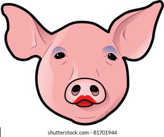 Pig's head with lipstick and eye shadow