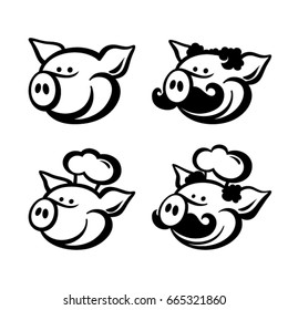 Pigs logo and mascot template