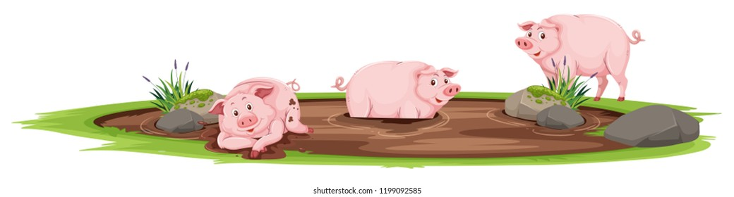 Pigs playing in the mud illustration