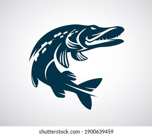 Pike icon or logo template. Jumping fish isolated on white background. Fishing concept. Vector illustration.