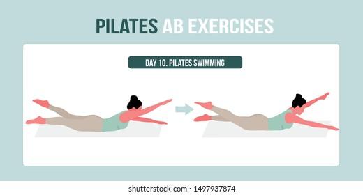 Pilates AB exercise pilates swimming - a concept illustraion of pilates