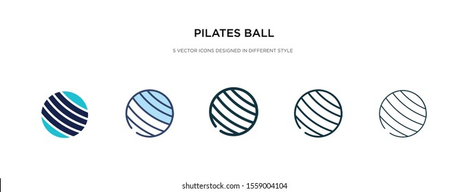 pilates ball icon in different style vector illustration. two colored and black pilates ball vector icons designed in filled, outline, line and stroke style can be used for web, mobile, ui