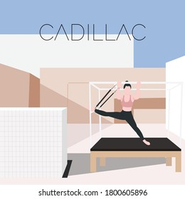 Pilates Cadillac - a concept illustration of exercise