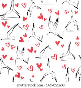 Pilates Poses and Heart Pattern.Ideal for greeting cards, wall decor, textile design and much more.