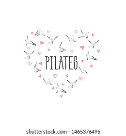 Pilates poses in shape of a heart.Ideal for greeting cards, wall decor, textile design and much more.