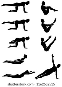 Pilates silhouette figures in vector.