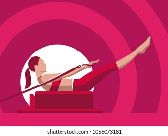 Pilates Woman Illustration Vector Silhouette Flat Isolated