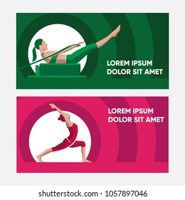 Pilates Woman Poses Silhouette Illustration Flat Vector Design