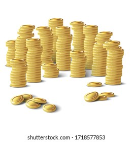 Pile of 3d realistic vector golden coins. Isolated  icon illustration on white background.