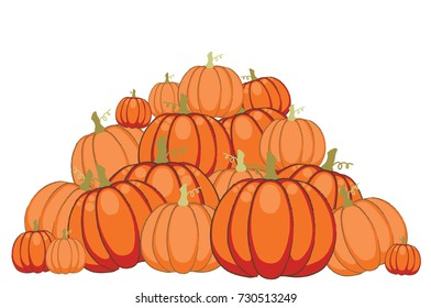 Pile of autumn pumpkins, vector illustration