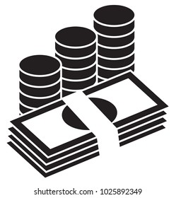 Pile of bank notes or bills and coins stacked. Currency icon or logo vector. Symbol for banking or finances.