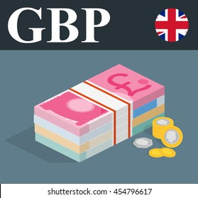 Pile banknotes with coins. Money illustration.