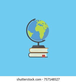 Pile of book and globe in flat style. Education concept. Back to school illustration with many closed books and globe