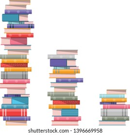 Pile of books. 3 stacks of books isolated on white background vector illustration