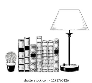 A pile of books, a cactus in a flowerpot and a lamp . Vector drawing in vintage style. Isolated objects on white background.  A hand-drawn sketch.