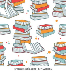 Pile of books hand drawn seamless pattern. Big collection of books icons. Colorful background with book icon vector. Decorative wallpaper, good for printing for bookstore. Backdrop design