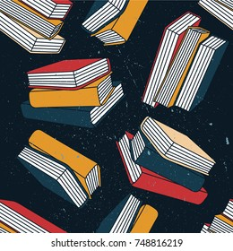 Pile of books hand drawn seamless pattern. Big collection of books. Colorful background with book vector. Decorative wallpaper, good for printing for bookstore. Overlapping backdrop design