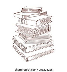 Pile of books. Hand drawn vector illustration