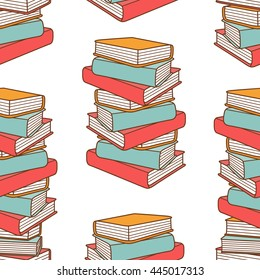 Pile of books hand drawn vector. Big collection of books, sketch objects. Doodle illustration library. Colorful seamless pattern