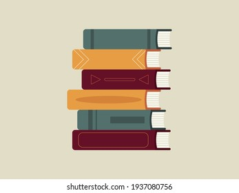 Pile of books illustration made ins a modern flat design style. Spine of the books view. Vector.