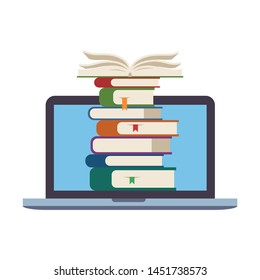 Pile of books inside laptop screen. Symbol of e-learning, online education, digital library of courses, distance study at school or university. Flat vector illustration isolated on white background.
