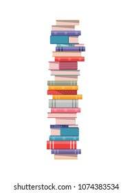 Pile of books isolated on white background vector illustration