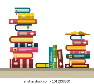 Pile of Books in Library or Bookstore. Vector Flat Design Illustration.