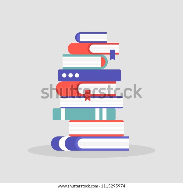 A pile of books. Literature. Reading. Knowledge. Education. University. Library. Flat editable vector illustration, clip art