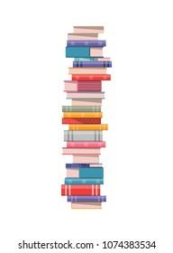 Pile of books on white background vector illustration