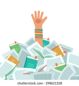 Pile of books and Overwhelmed student. Too much study. Student's hand drowning in books. Education concept. Vector colorful illustration isolated on white